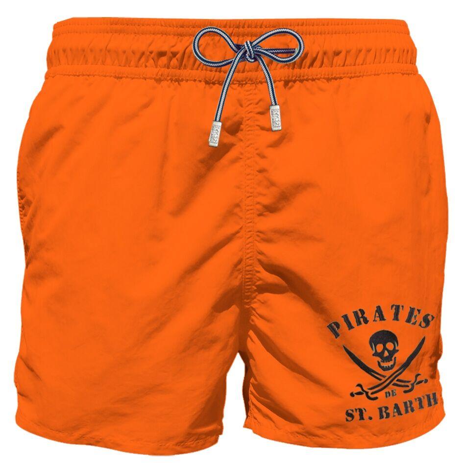 Costume Mare Arancio Fluo Con Ricamo Pirati - MC2 Saint Barth