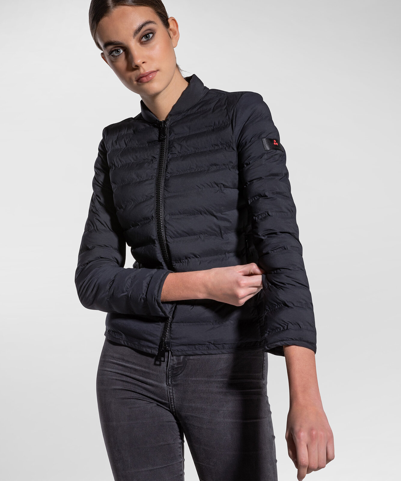 Down Jacket In Stretch Jacquard And Sporty Chic - Peuterey