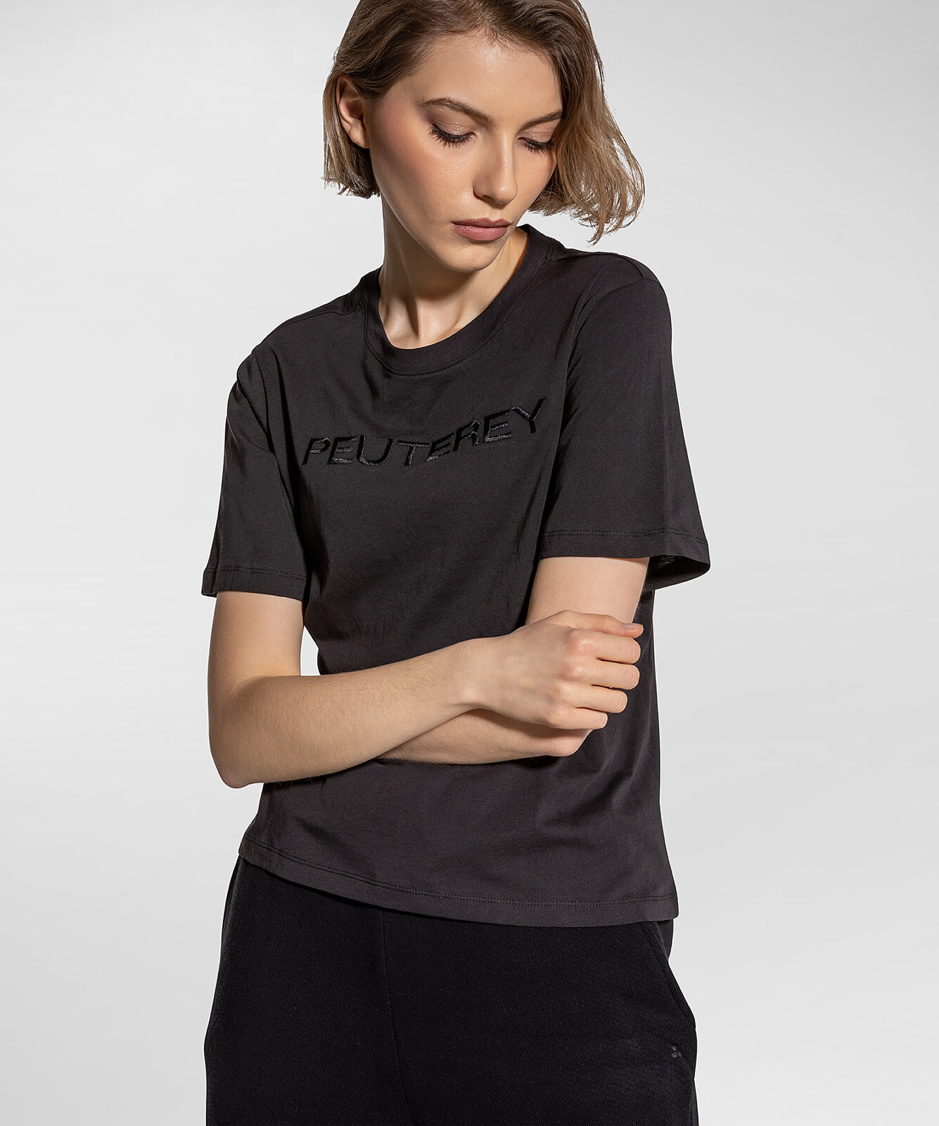 T-Shirt With Lettering Embroidery - Peuterey