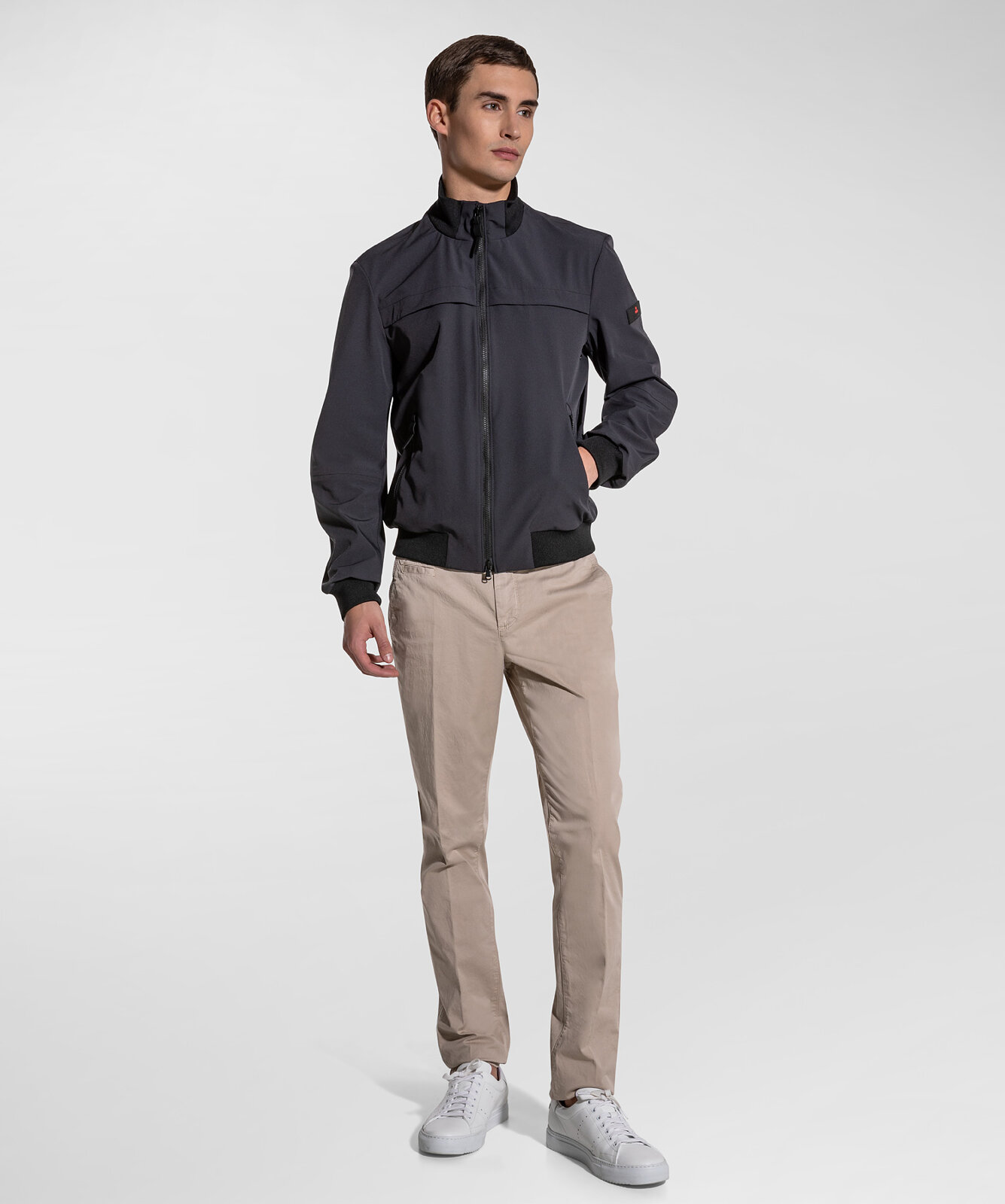 Smooth Bomber Jacket In Stretch Fabric - Peuterey