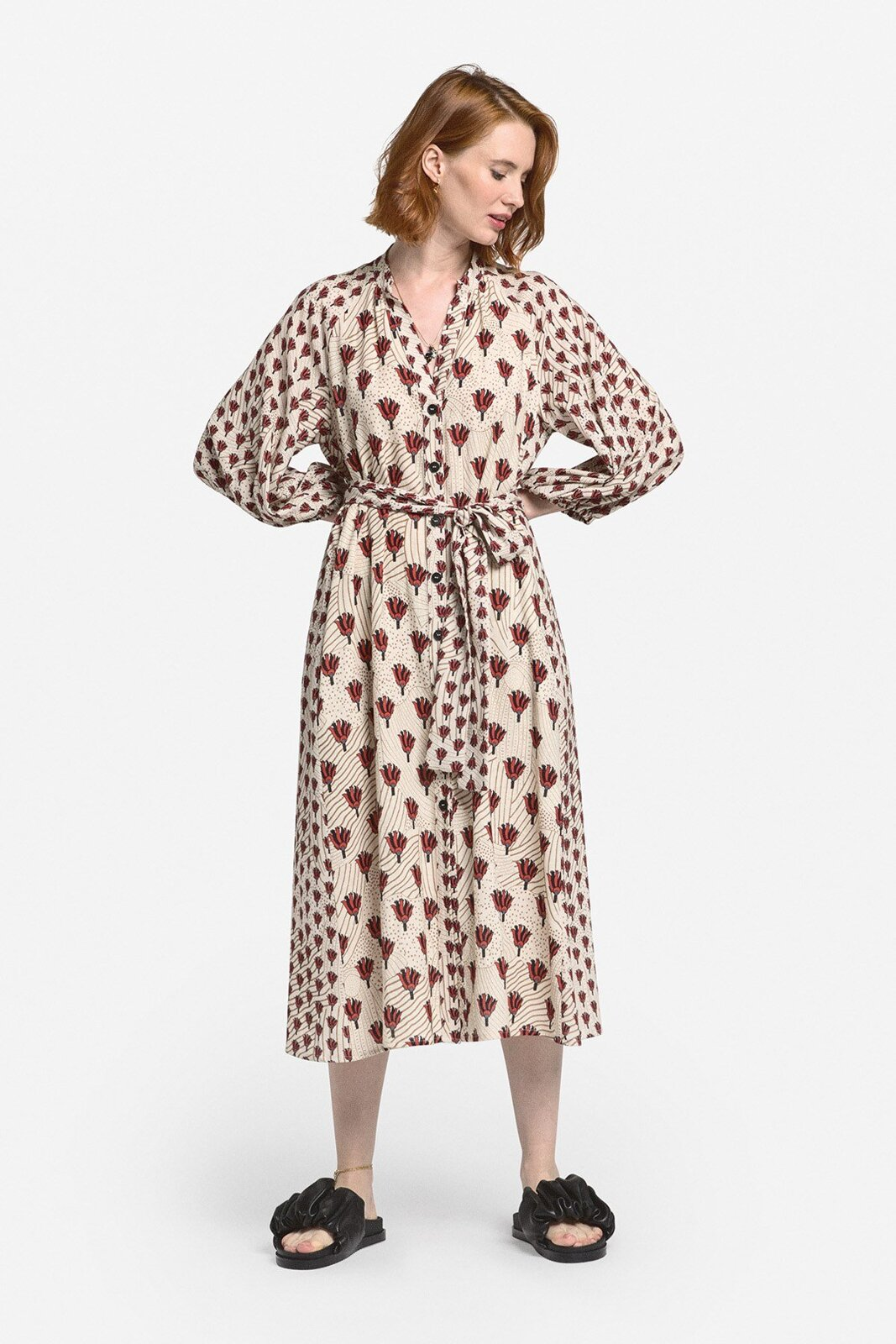 Linen Blend Midi Shirt Dress - ottod'Ame