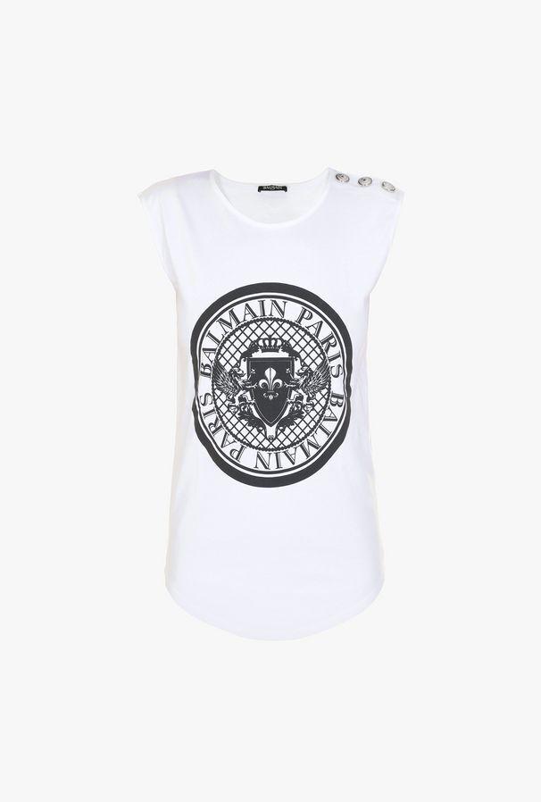 T-Shirt In Cotone Con Medaglione Balmain Stampato - Balmain