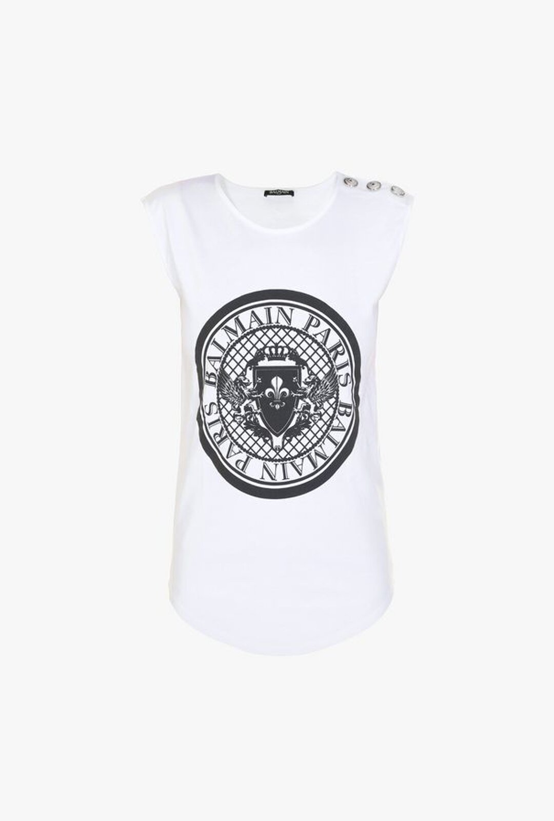 Cotton T-Shirt With Printed Balmain Medallion - Balmain