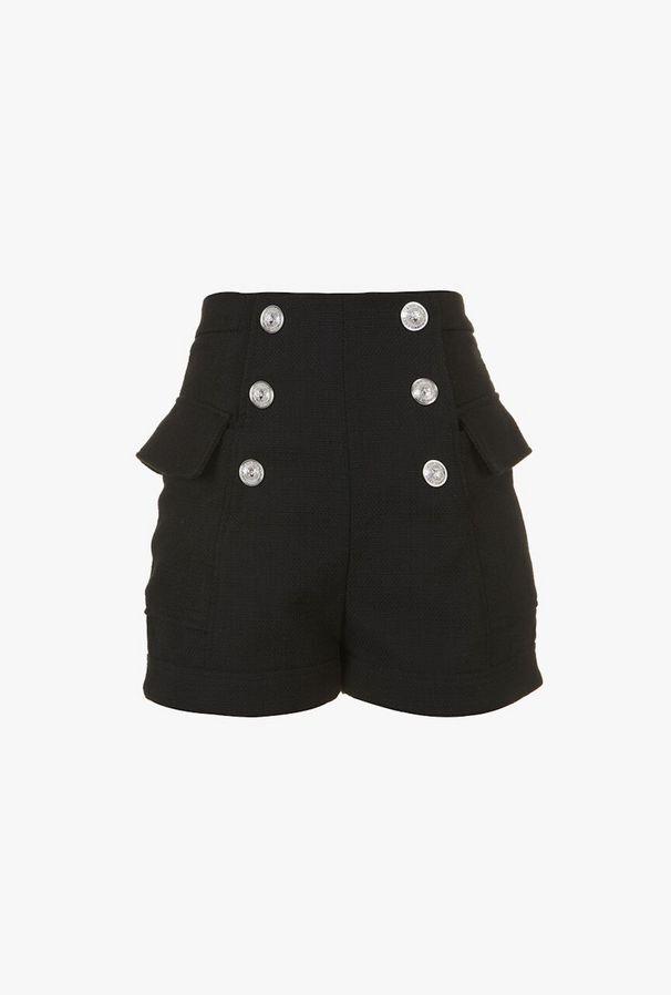 Shorts A Vita Alta Effetto Doppiopetto - Balmain