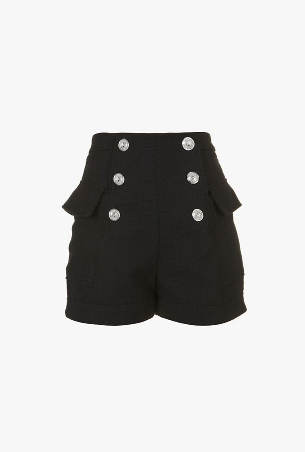 Double-Breasted Effect High Waist Shorts - Balmain