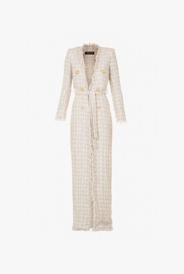 Giacca Lunga In Tweed A Quadretti - Balmain