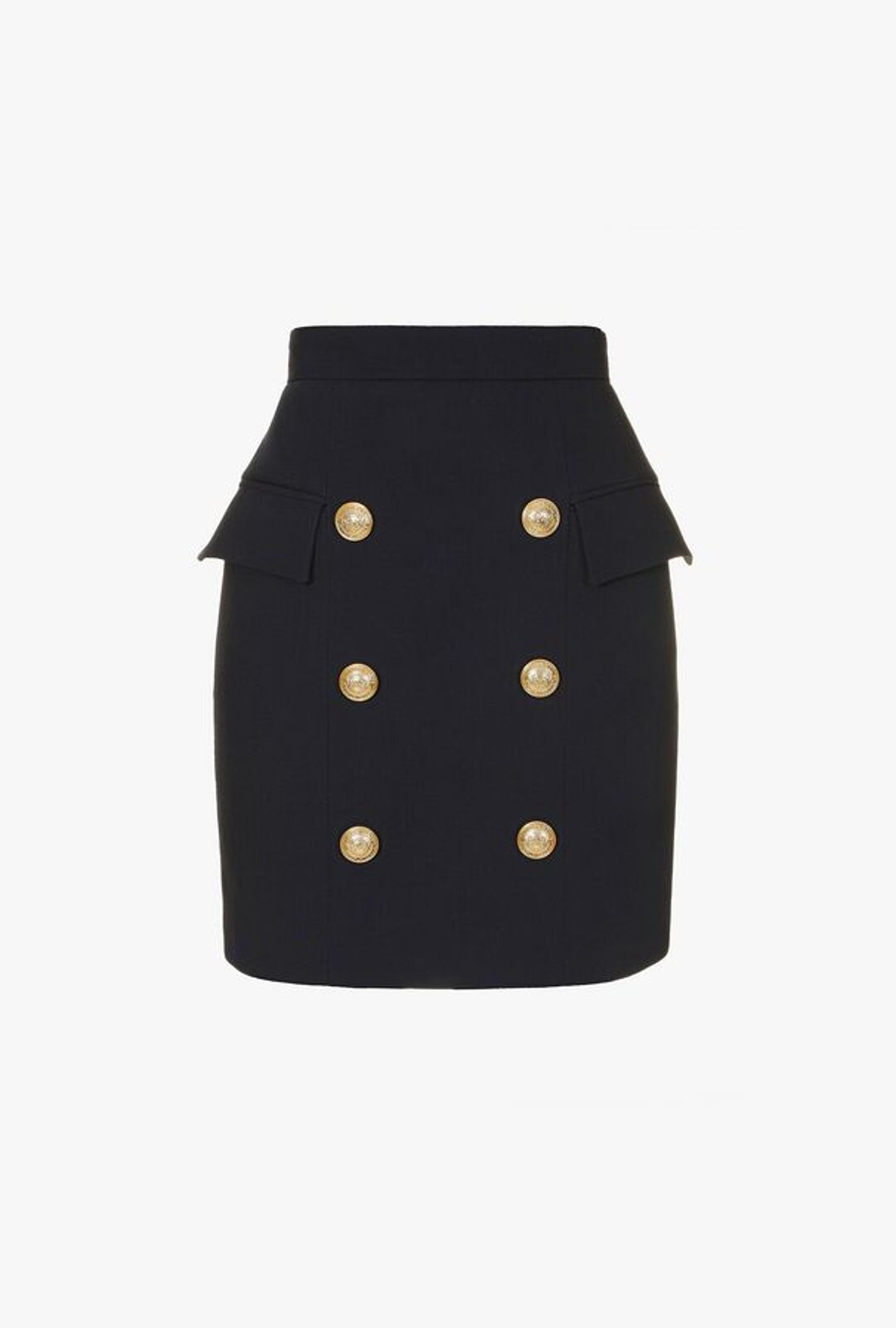 Double-Breasted Effect Wool Short Skirt - Balmain