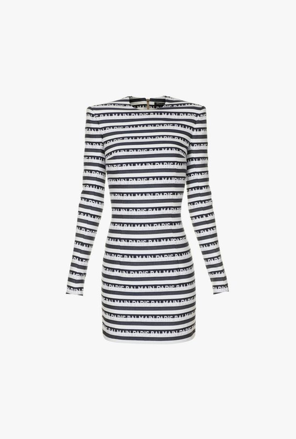 Short Striped Dress With Balmain Logo Print - Balmain