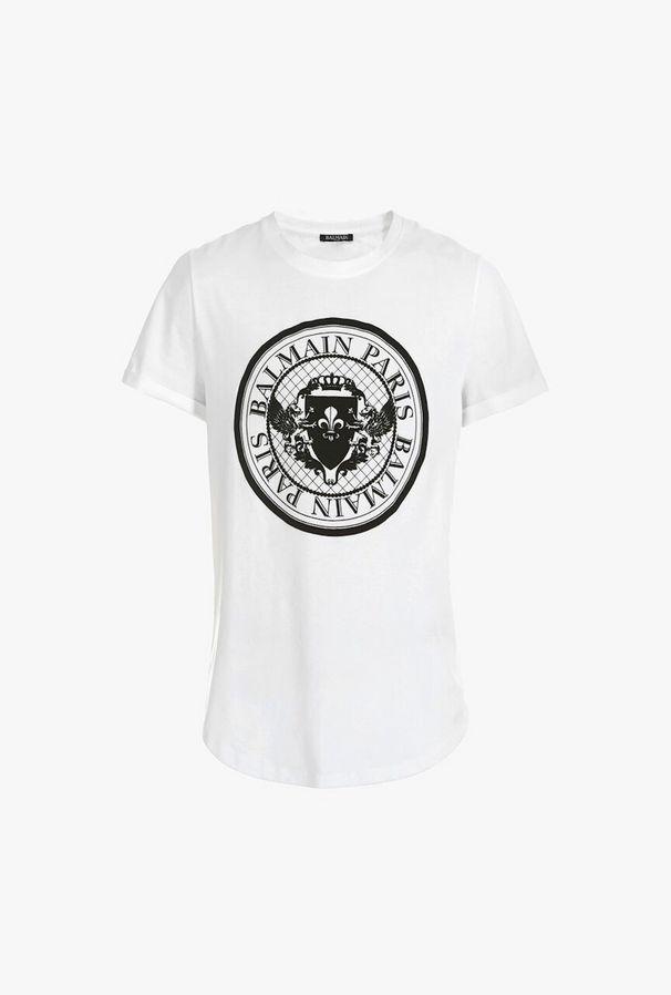 T-Shirt In Cotone Con Stampa Medaglione Balmain - Balmain