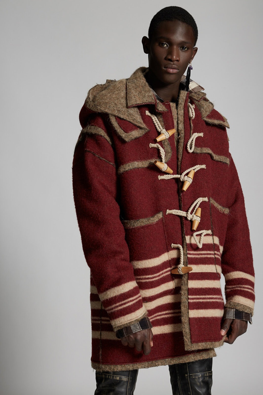 Striped Wool Montgomery Coat - Dsquared2