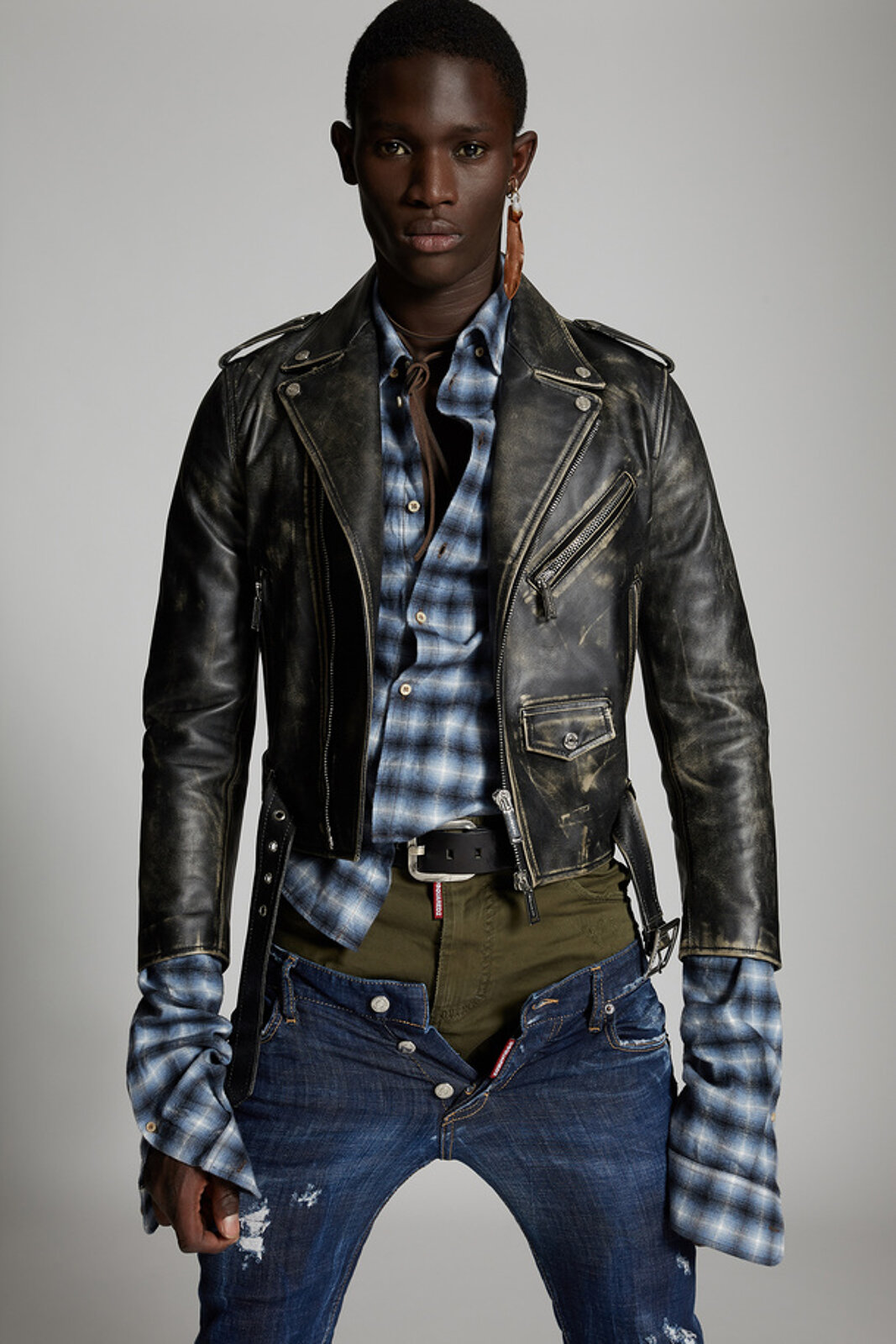 Distressed Leather Mini Kiodo Jacket - Dsquared2