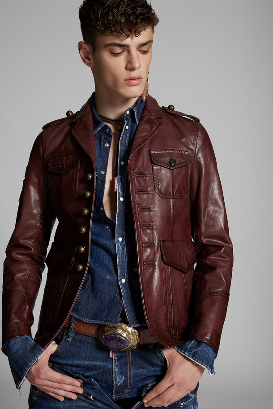 Leather Army Jacket - Dsquared2