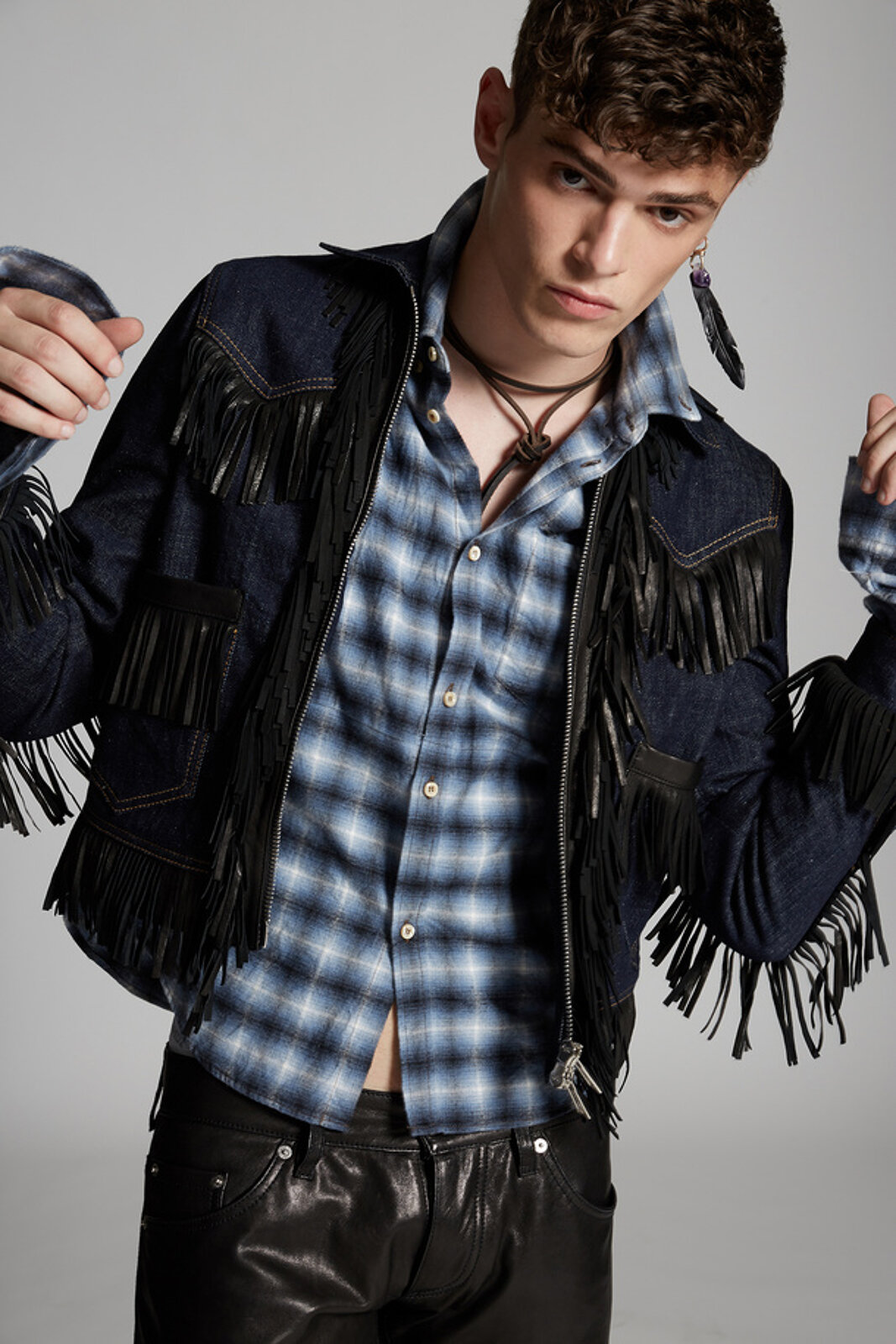 Leather Fringe Mini Denim Jacket - Dsquared2