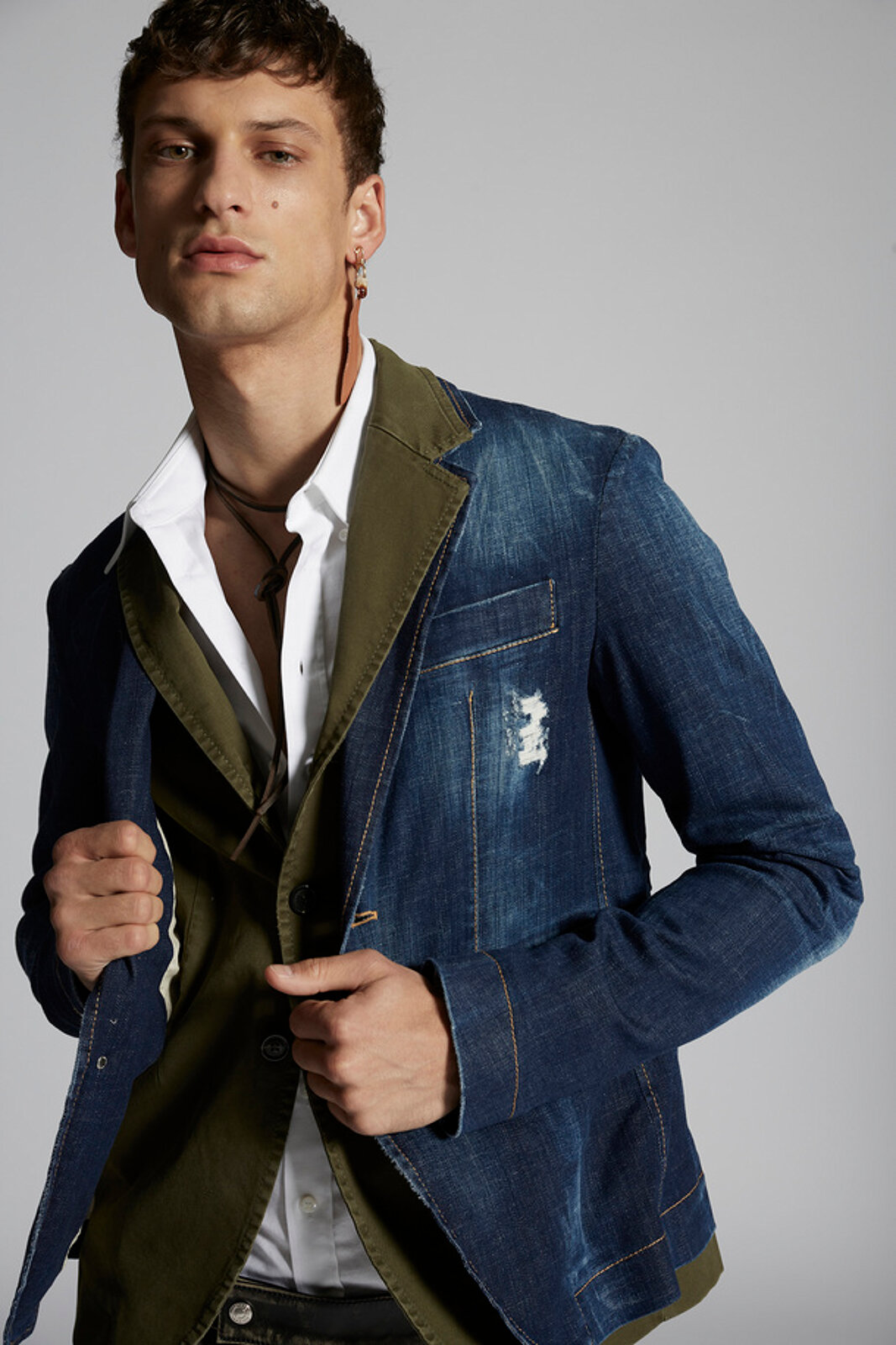 Layered Cotton Denim Blazer - Dsquared2