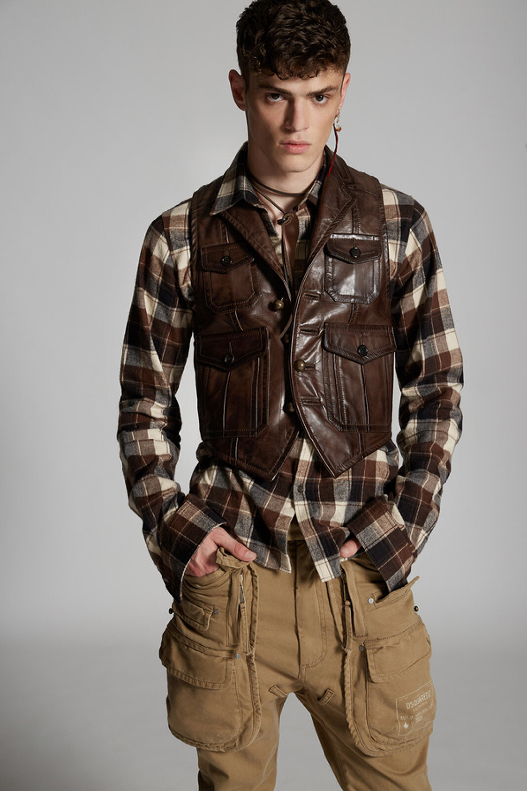 Leather Army Vest - Dsquared2