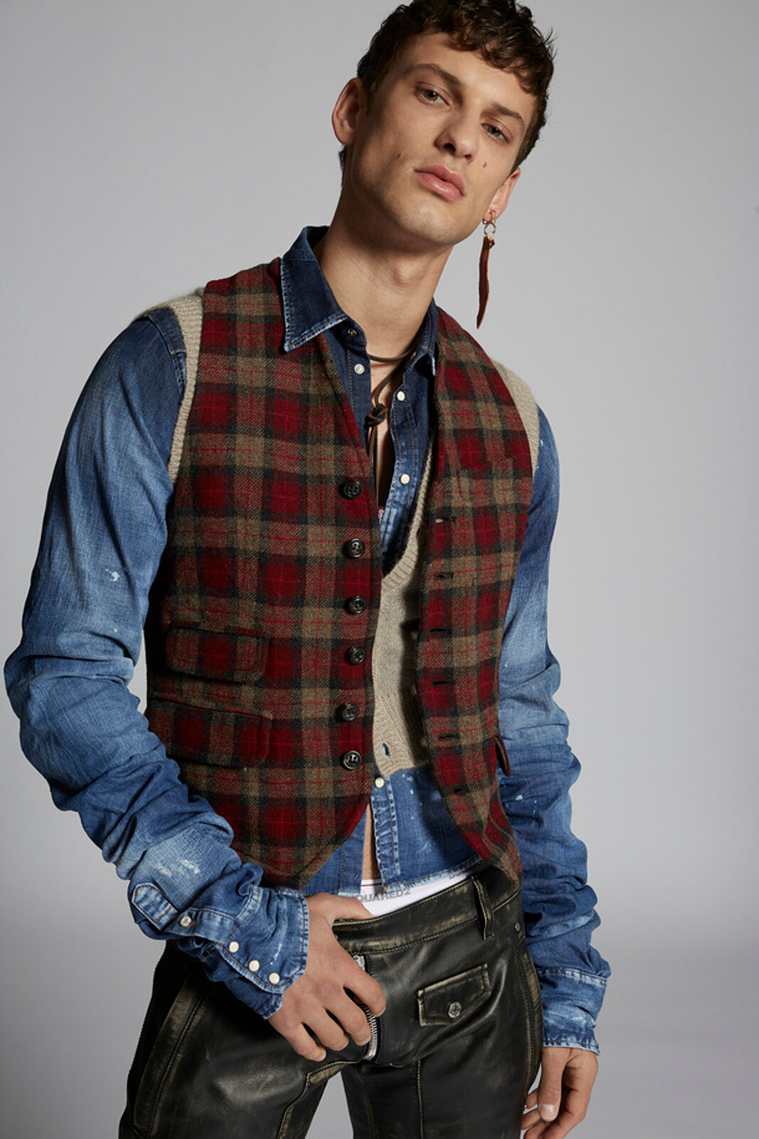 Check Wool Vest - Dsquared2