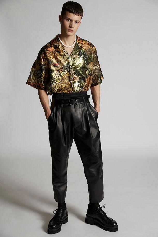 Pantaloni da combattimento in pelle con 2 pieghe - Dsquared2