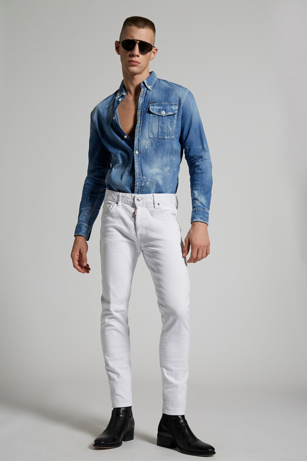 Stretch Bull Garment Dyed Skinny Dan Jeans - Dsquared2