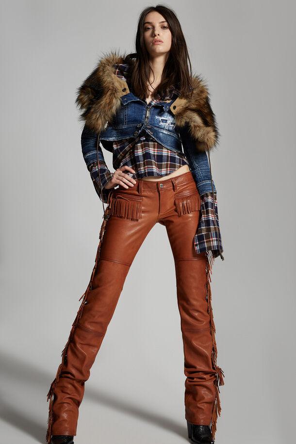 Attached Faux Fur Collar Denim Jacket - Dsquared2