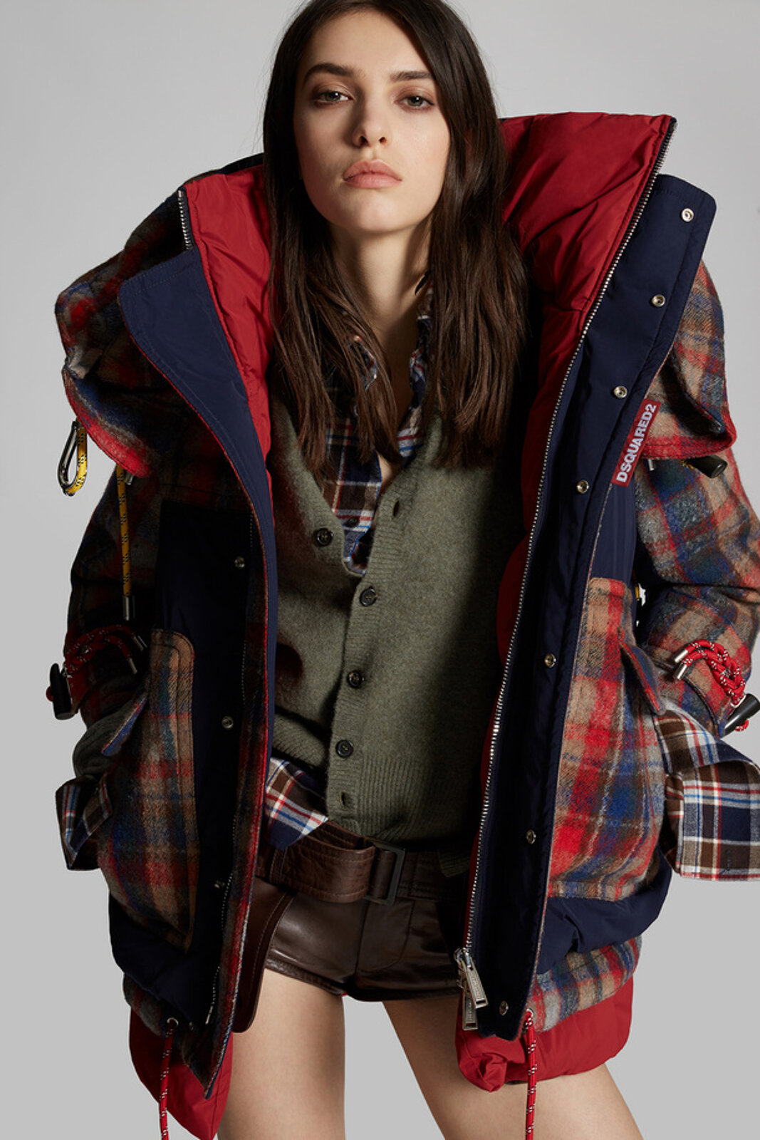 Check And Nylon Puffer Jacket - Dsquared2