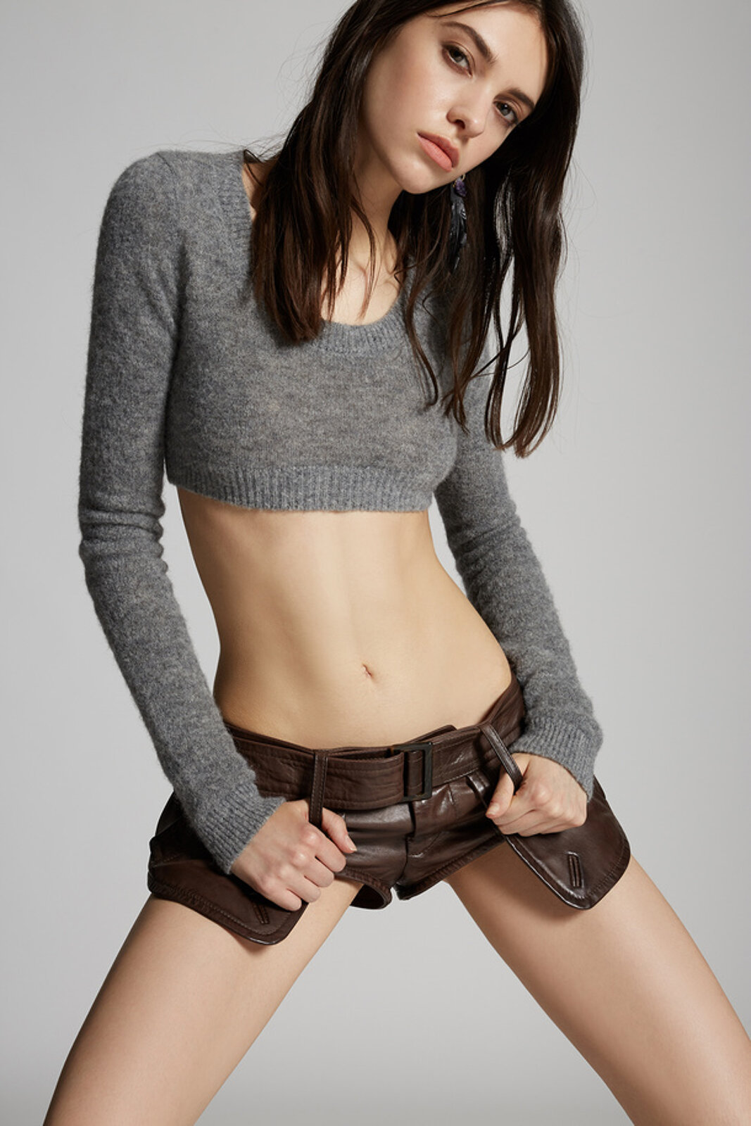 Cropped Alpaca Wool Knit Sweater - Dsquared2