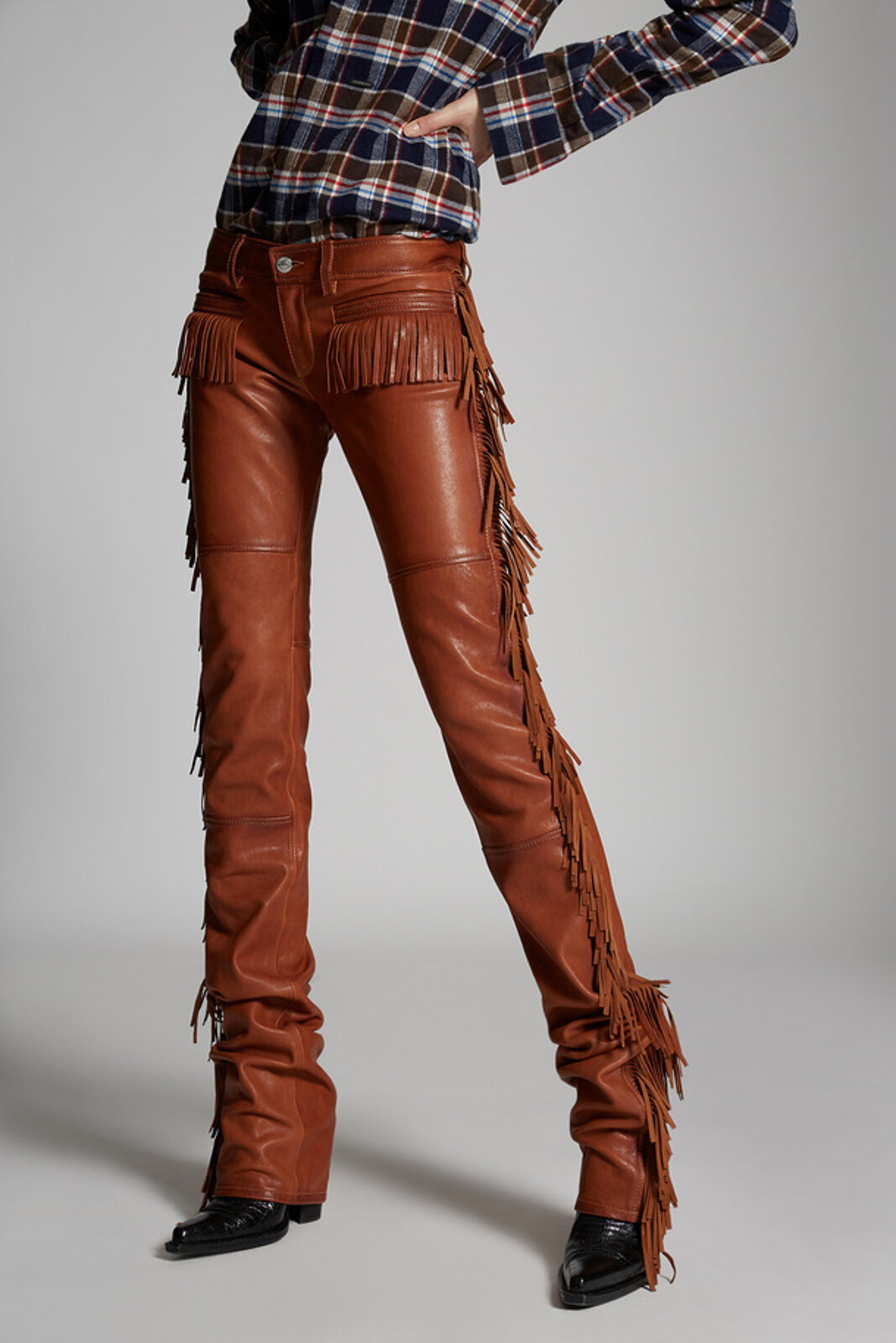 Leather Fringe Flared Rodeo Pants - Dsquared2