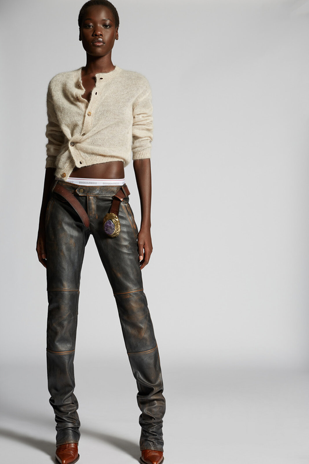 Leather Sharpei Biker Pants - Dsquared2