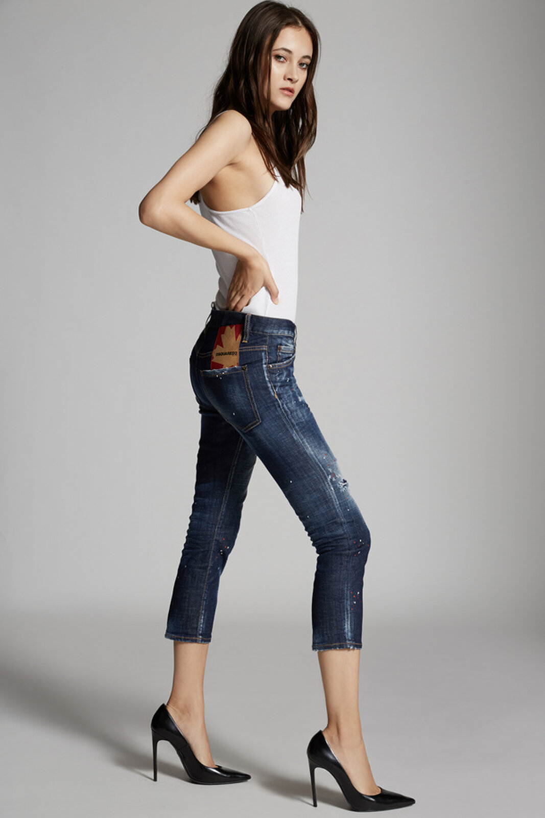 Dark I Phone Wash Cool Girl Cropped Jeans - Dsquared2