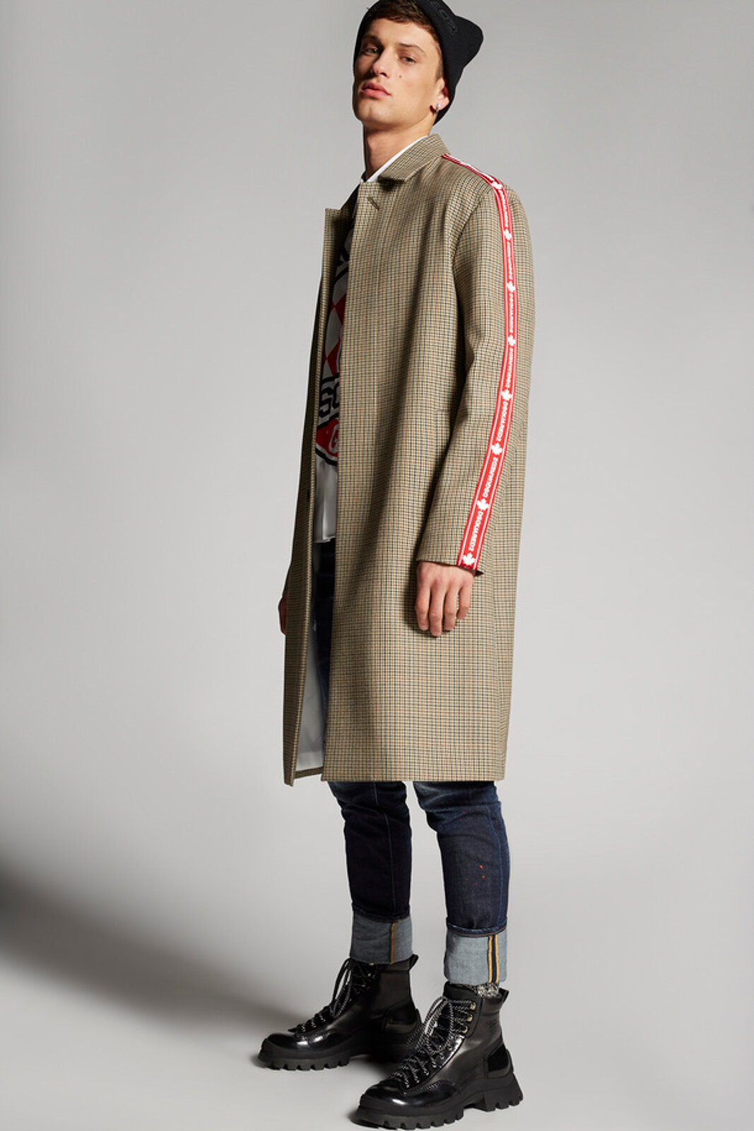 Check Wool Trench With Red Logo Tape - Dsquared2