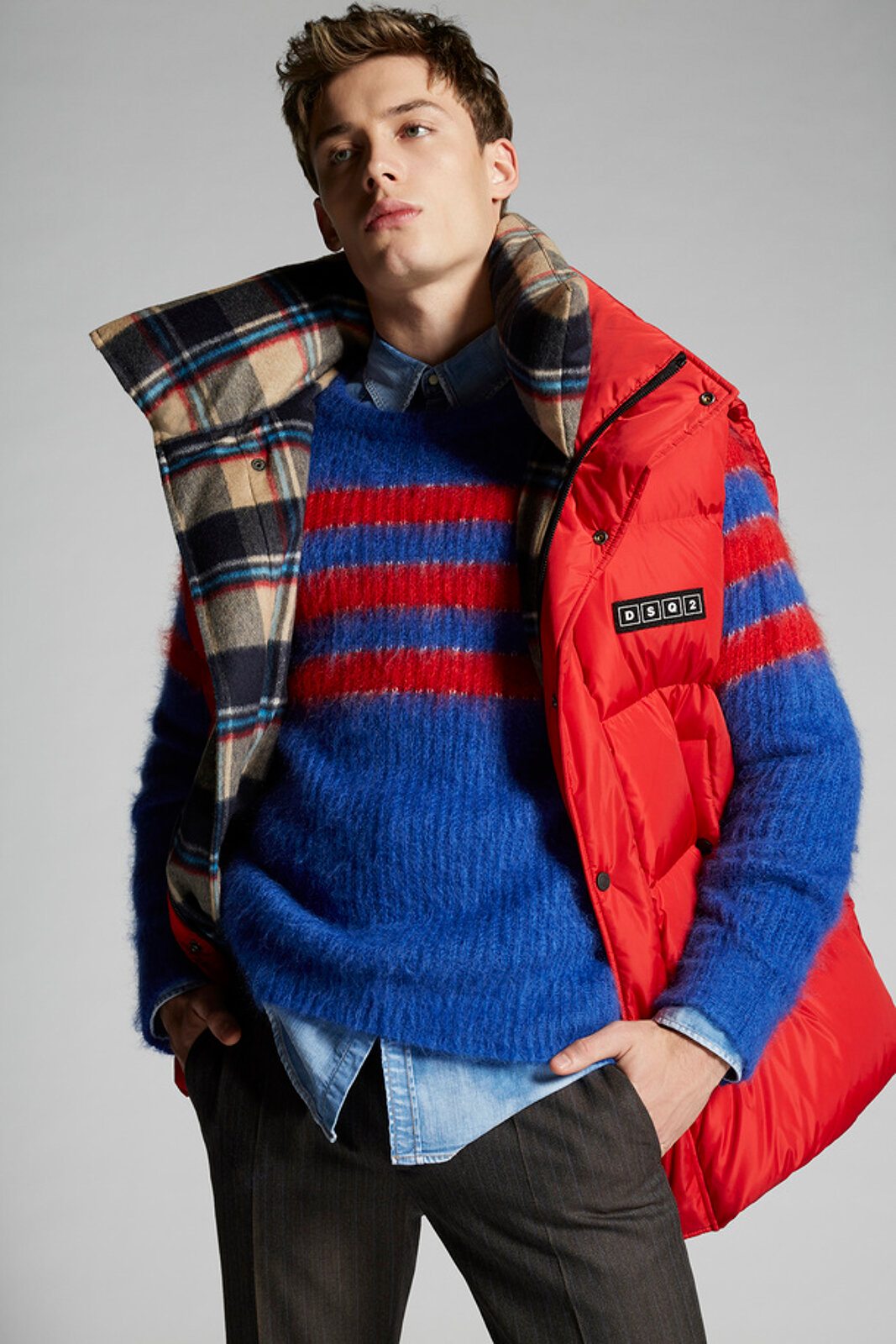 Nylon Puffer Vest With Check Wool Lining - Dsquared2