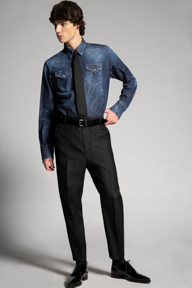 Pantaloni a fascia alta in lana di seta - Dsquared2