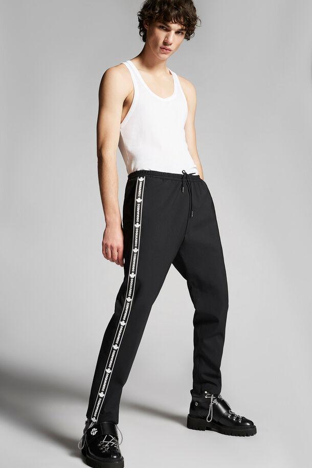 Pantaloni da jogging con fettuccia nera in lana elasticizzata - Dsquared2