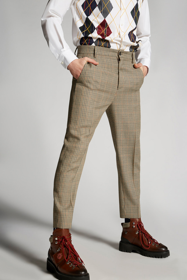 Mini pantaloni Brad in lana check - Dsquared2