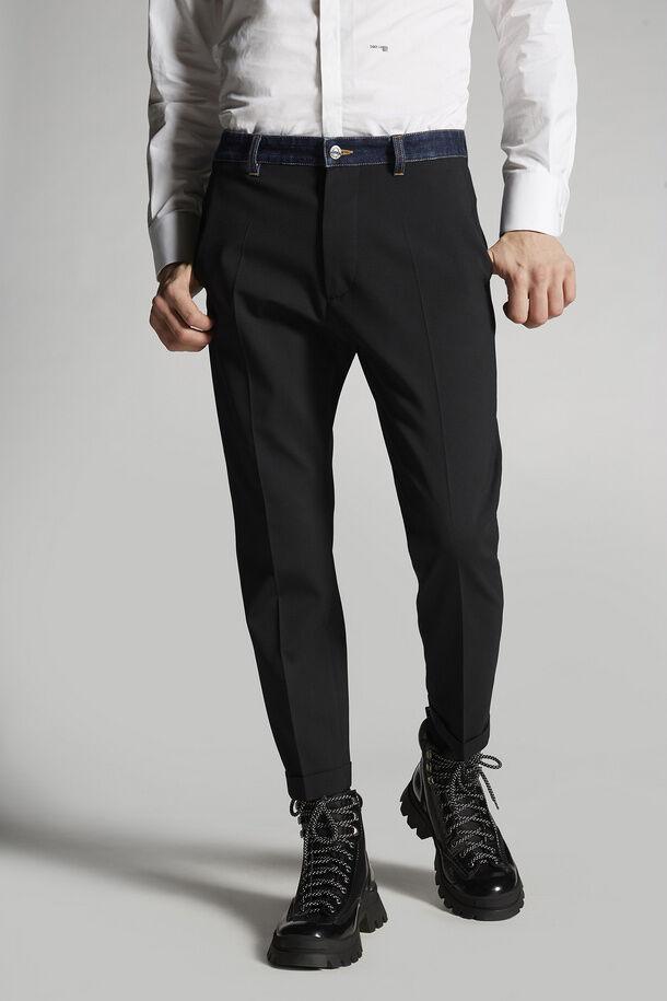 Pantaloni Hockney in lana elasticizzata con orlo in denim - Dsquared2