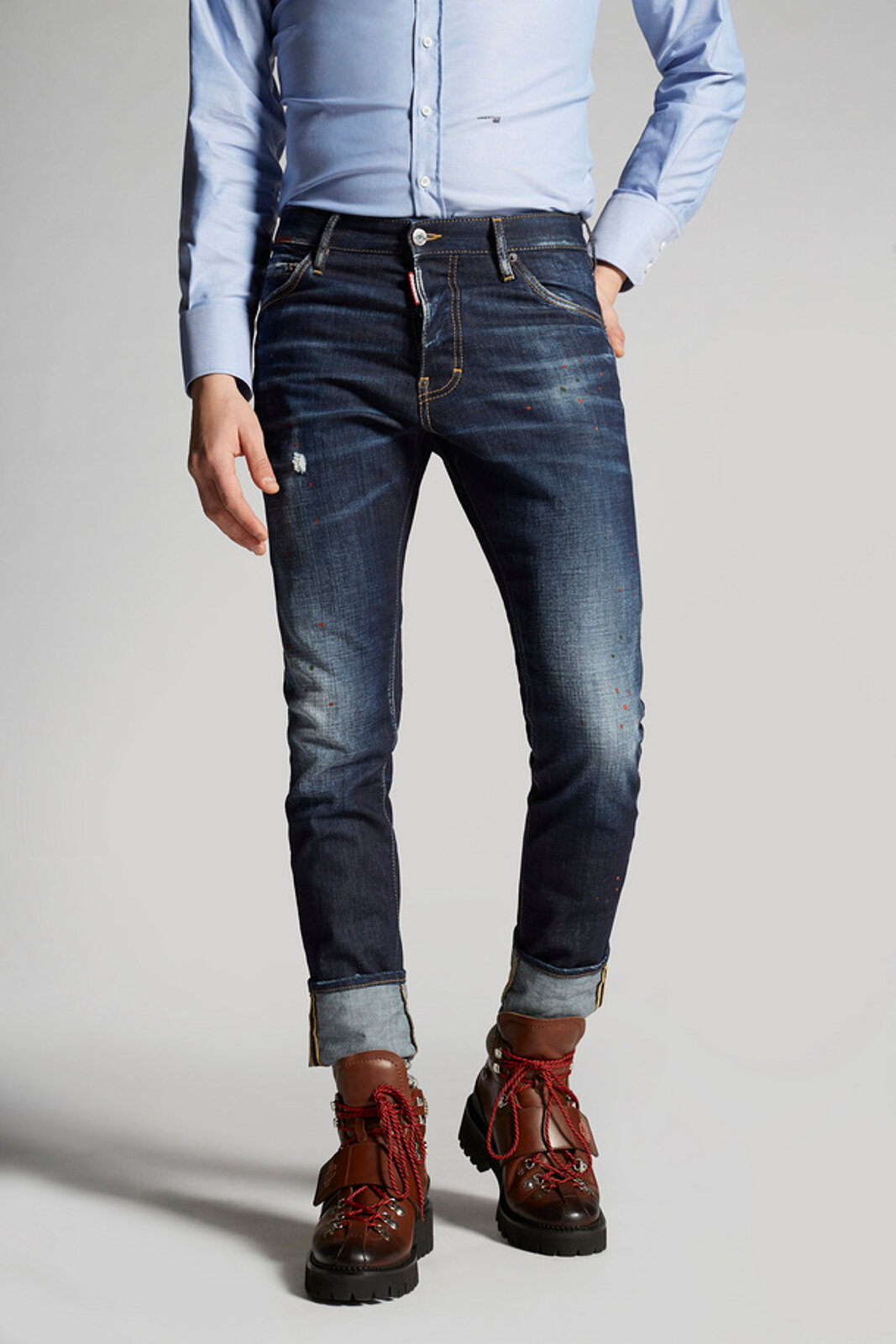 Dark Night Red Spots-Wash Cool Guy Jeans - Dsquared2