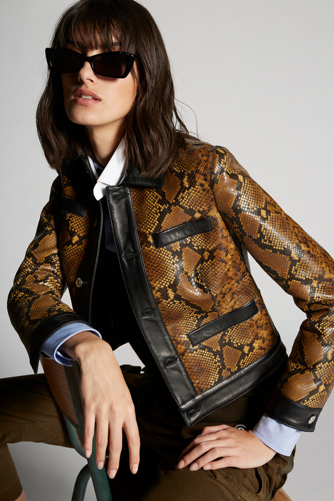 Python Printed Leather Jacket - Dsquared2