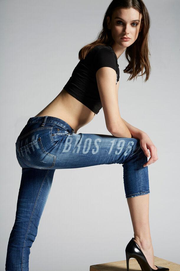 Jeans corti Cool Girl con lavaggio medio con logo - Dsquared2