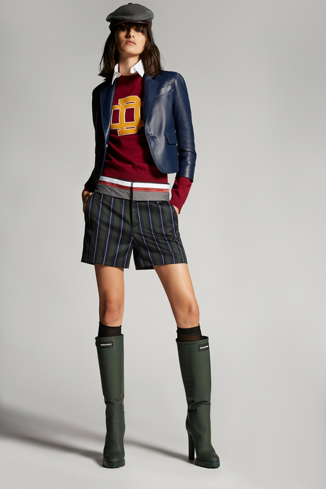 Shorts a sigaretta in lana a righe - Dsquared2