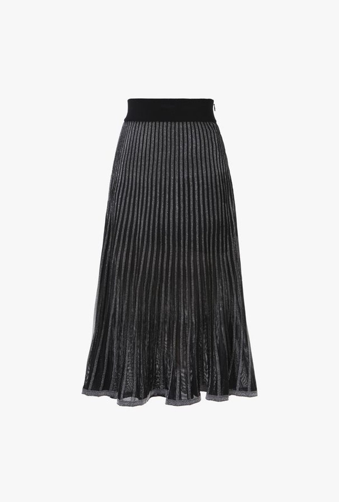 Black And Silver Pleated Midi Skirt With Metallic Effect Stripes - Balmain