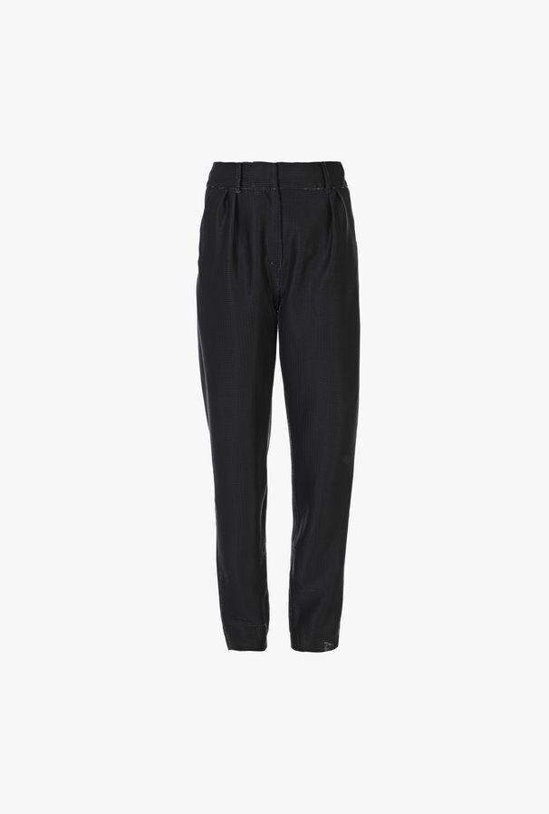 Black Carrot Pants In Metallic Effect Jersey - Balmain