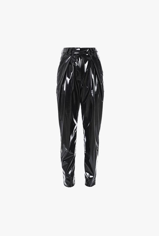 Black Tapered High Waist Vinyl Pants - Balmain