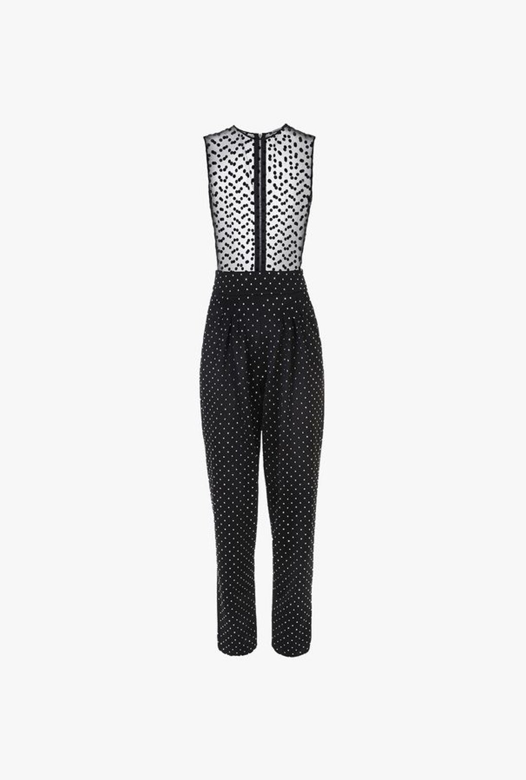 Black Jumpsuit With Rhinestones And Swiss Muslin Tulle - Balmain