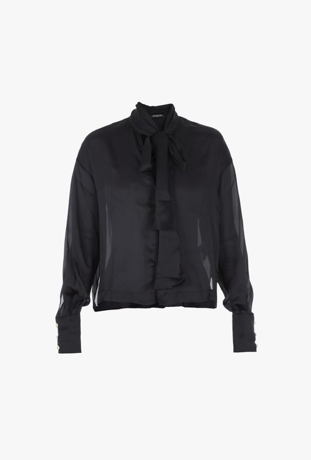 Black Silk Blouse With Neck Ribbon - Balmain
