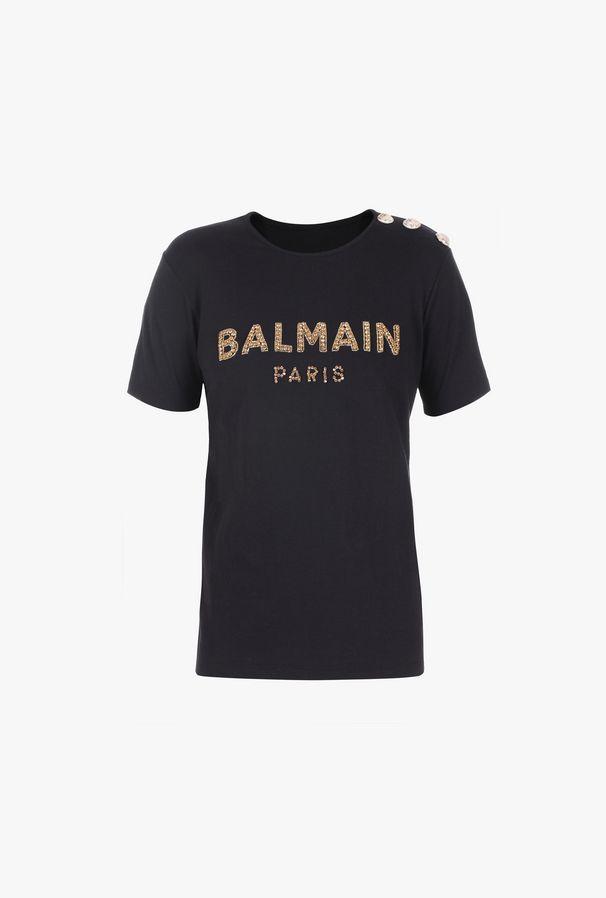 T-Shirt Nera In Cotone Con Logo Balmain Ricamato - Balmain