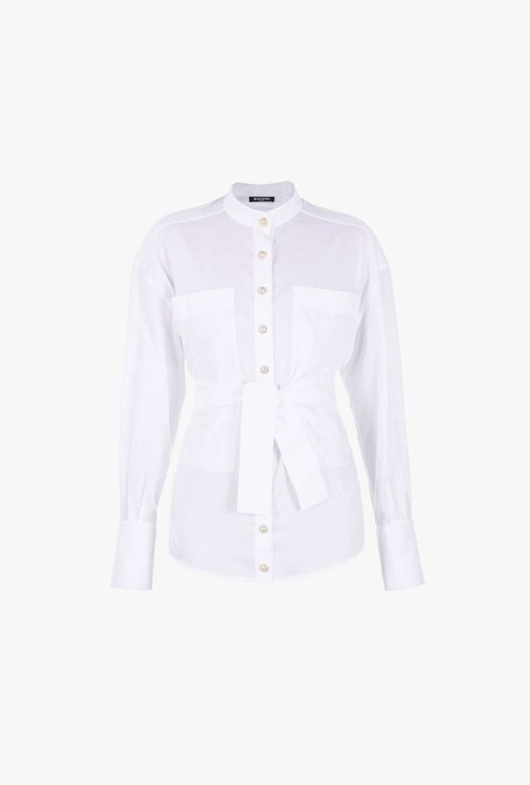 White Cotton Blouse With Belt - Balmain