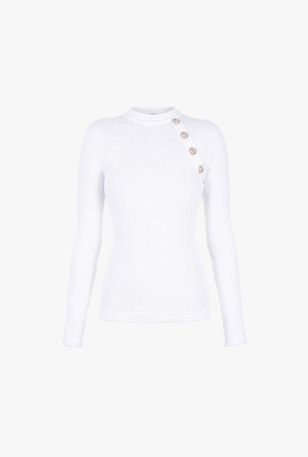 Pullover Bianco In Maglia Con Bottoni - Balmain