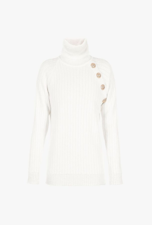 Pullover Bianco In Maglia A Collo Alto - Balmain