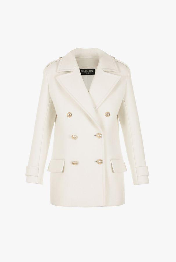 Cappotto Doppiopetto Bianco In Lana - Balmain
