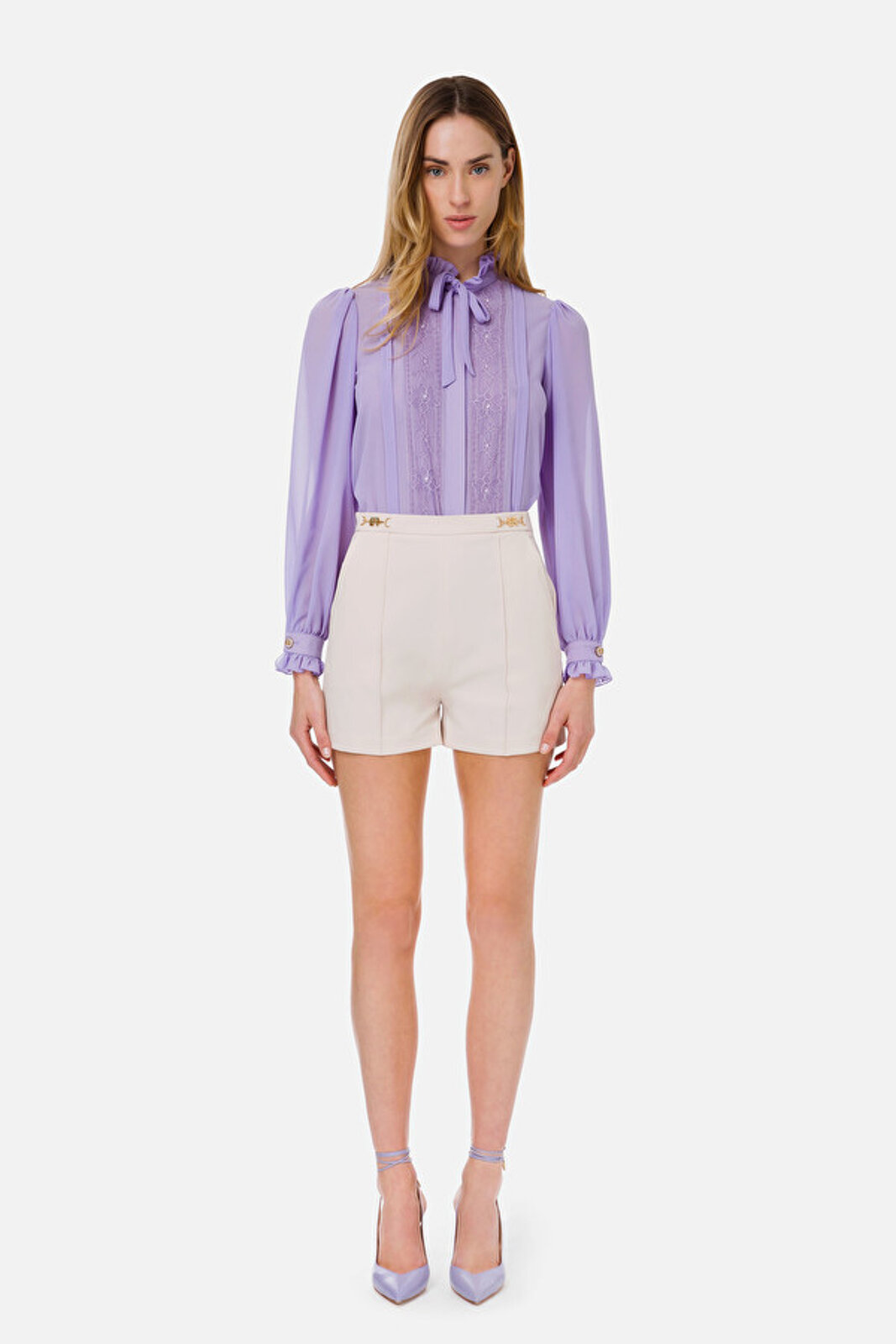 Ottoman Shorts With Logoed Clamp - Elisabetta Franchi