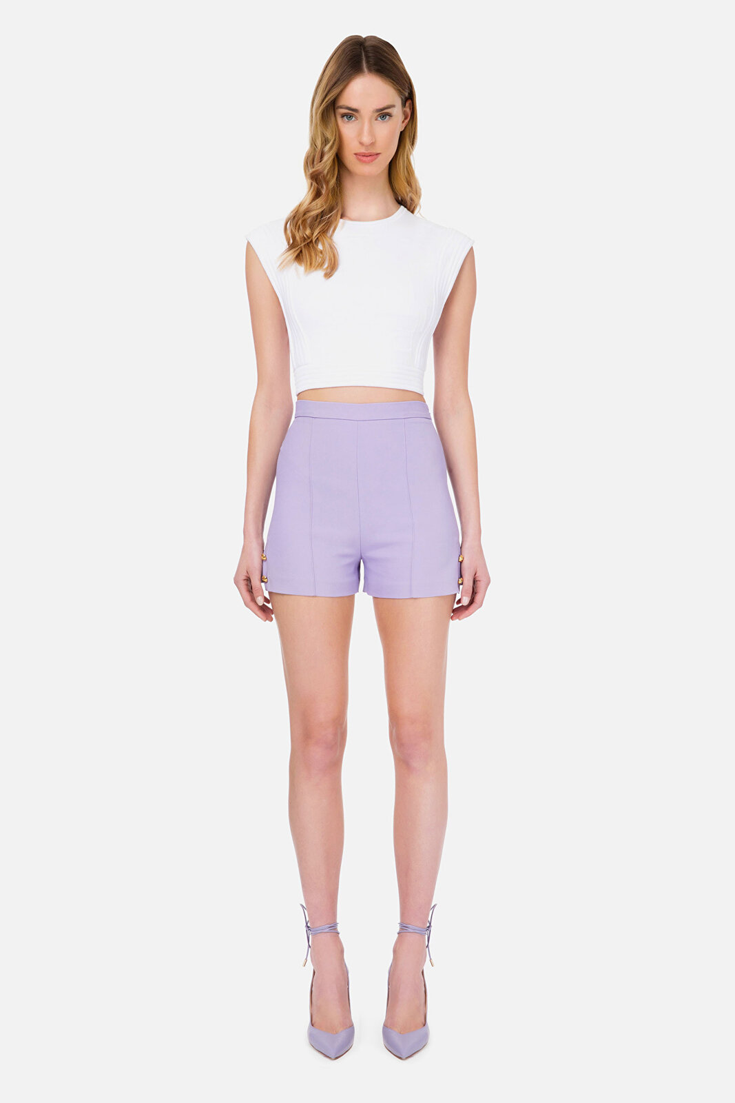 High Waisted Shorts With Side Slits - Elisabetta Franchi